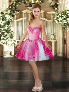 Beading Homecoming Party Dress Hot Pink Lace Up Sleeveless Mini Length