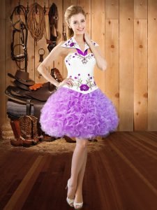 Clearance Fabric With Rolling Flowers Halter Top Sleeveless Lace Up Embroidery Homecoming Dress in Lilac