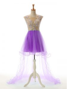 Eggplant Purple Scoop Backless Appliques Homecoming Dress Sleeveless
