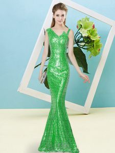 Trendy Floor Length Mermaid Sleeveless Green Homecoming Dress Zipper