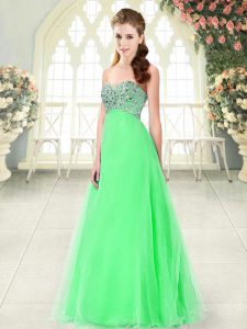 Suitable Green A-line Sweetheart Sleeveless Tulle Floor Length Lace Up Beading Homecoming Party Dress