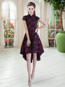 Flare High-neck Short Sleeves Lace Junior Homecoming Dress Appliques Zipper
