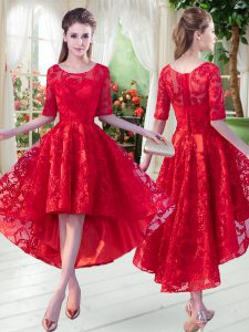 A-line Hoco Dress Red Scoop Half Sleeves High Low Zipper
