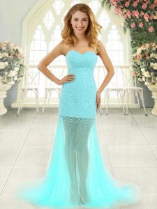 Affordable Aqua Blue Homecoming Party Dress Sweetheart Sleeveless Brush Train Zipper