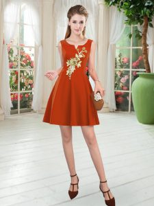 Sophisticated Satin Scoop Sleeveless Zipper Appliques Homecoming Dress Online in Rust Red