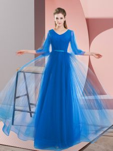 Free and Easy Blue Long Sleeves Beading Floor Length