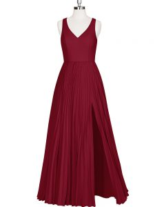 Wine Red V-neck Zipper Pleated Prom Homecoming Dress Sleeveless