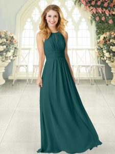 Fancy Peacock Green Sleeveless Ruching Floor Length Hoco Dress