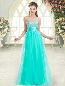 Hot Selling Sleeveless Floor Length Beading Lace Up Homecoming Dress with Aqua Blue