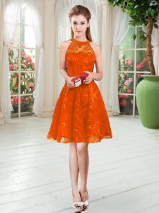 Modest Rust Red Sleeveless Lace Knee Length Homecoming Dresses