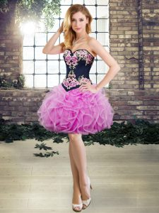 Sleeveless Mini Length Embroidery and Ruffles Lace Up Homecoming Party Dress with Lilac