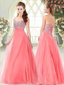 Chic Beading Homecoming Dress Online Watermelon Red Lace Up Sleeveless Floor Length