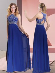 Empire Sleeveless Blue Homecoming Dress Sweep Train Criss Cross