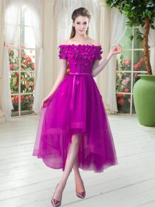 Gorgeous High Low A-line Short Sleeves Fuchsia Junior Homecoming Dress Lace Up