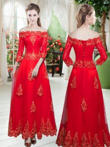 Amazing A-line Red Off The Shoulder Tulle 3 4 Length Sleeve Floor Length