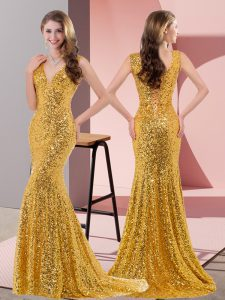Traditional Gold Lace Up Junior Homecoming Dress Beading Sleeveless Sweep Train