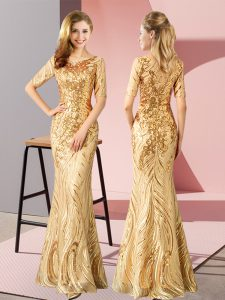 Sophisticated Gold Homecoming Gowns Prom and Party with Sequins Scoop Half Sleeves Zipper