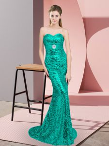 Super Sleeveless Sequined Sweep Train Lace Up Prom Homecoming Dress in Turquoise with Beading