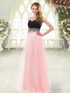 Stylish Baby Pink Zipper Sweetheart Appliques Tulle Sleeveless