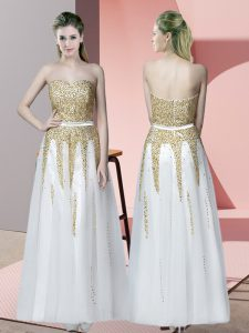 Floor Length Zipper Homecoming Party Dress White for Prom and Party with Beading