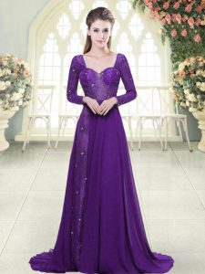 Sweet Sweetheart Long Sleeves Chiffon Homecoming Dresses Beading and Lace Sweep Train Backless