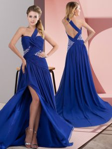 Royal Blue Homecoming Dress Online Prom and Party with Beading and Ruching One Shoulder Sleeveless Sweep Train Backless