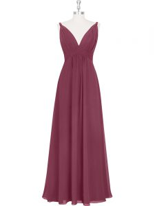 Burgundy Backless Homecoming Dresses Ruching and Pleated Sleeveless Floor Length