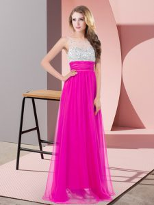 Fabulous Fuchsia Scoop Side Zipper Sequins Homecoming Gowns Sleeveless