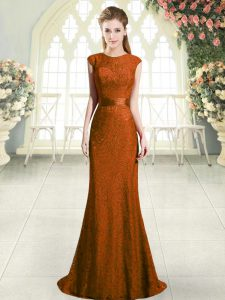 Brown Cap Sleeves Sweep Train Lace Homecoming Dress