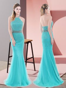 Aqua Blue Tulle Backless Homecoming Party Dress Sleeveless Sweep Train Beading