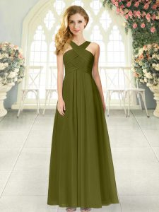 Noble Floor Length Zipper Hoco Dress Olive Green for Prom and Party with Ruching