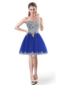 Trendy Royal Blue Lace Up Sweetheart Beading and Appliques Homecoming Party Dress Tulle Sleeveless