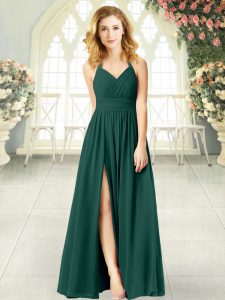 Peacock Green Sleeveless Floor Length Ruching Zipper