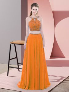 Orange Hoco Dress Chiffon Sweep Train Sleeveless Beading