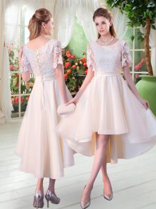 Hot Selling Champagne Scoop Lace Up Lace Homecoming Dresses Short Sleeves