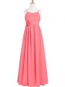 Watermelon Red Scoop Neckline Pleated and Hand Made Flower Hoco Dress Sleeveless Zipper