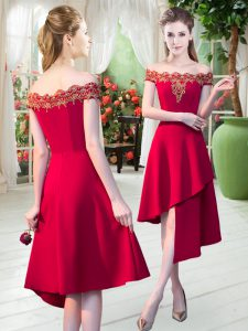 Pretty Red Satin Zipper Off The Shoulder Sleeveless Asymmetrical Homecoming Party Dress Appliques