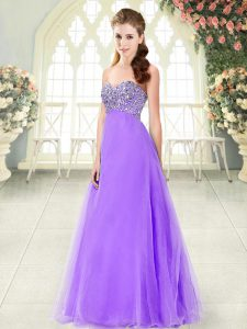 Shining Lavender A-line Tulle Sweetheart Sleeveless Beading Floor Length Lace Up Homecoming Party Dress