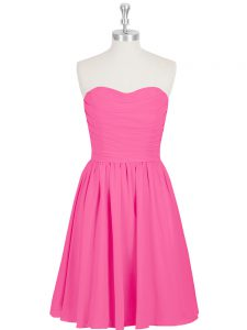 Hot Pink Sleeveless Chiffon Zipper Homecoming Party Dress for Prom and Party
