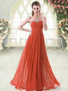 Sweetheart Sleeveless Prom Homecoming Dress Floor Length Beading Rust Red Chiffon