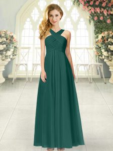 Peacock Green Sleeveless Ruching Floor Length Homecoming Party Dress