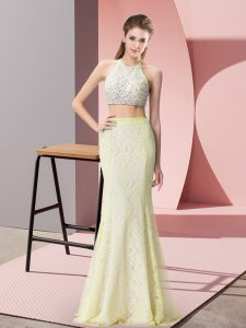Stylish Sleeveless Lace Floor Length Backless in Light Yellow with Beading