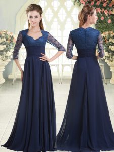 Blue Zipper Homecoming Gowns Pick Ups Long Sleeves Sweep Train