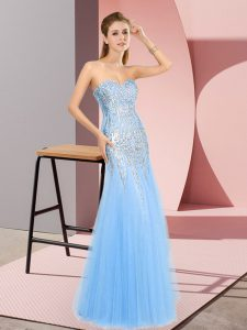 Blue Column/Sheath Tulle Sweetheart Sleeveless Beading Floor Length Zipper Homecoming Dress Online