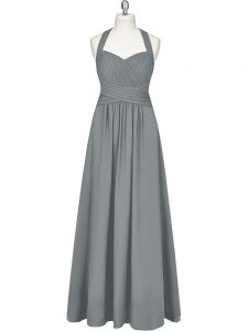 Latest Empire Homecoming Party Dress Grey Halter Top Chiffon Sleeveless Floor Length Zipper
