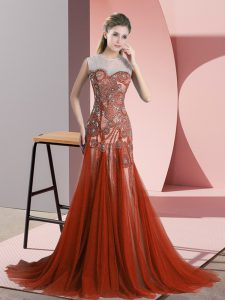 Sleeveless Beading Backless Homecoming Dresses with Rust Red Sweep Train