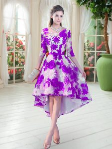 High Quality Half Sleeves Lace High Low Lace Up Homecoming Party Dress in White And Purple with Belt