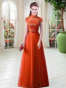 High-neck Cap Sleeves Homecoming Dress Floor Length Appliques Orange Red Tulle