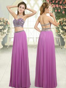 Classical Lilac Sleeveless Floor Length Beading Backless Homecoming Dress Online
