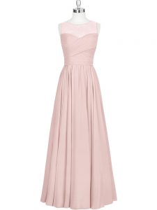 On Sale Baby Pink Sleeveless Chiffon Zipper Homecoming Dress for Prom and Party